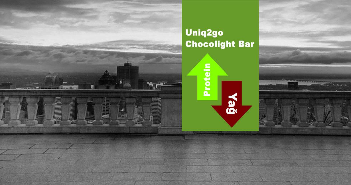 Uniq2go Chocolight Portakal Parçacıklı Proteinli Bar