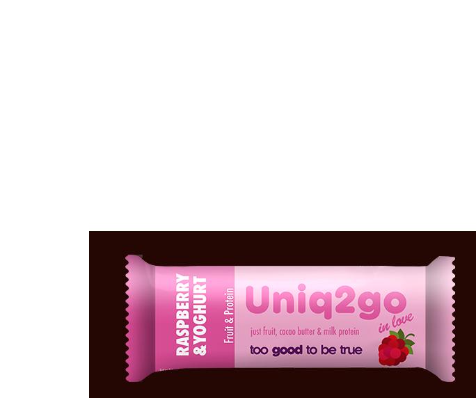 Uniq2go inlove – Ahududu ve Yoğurt aromalı proteinli bar