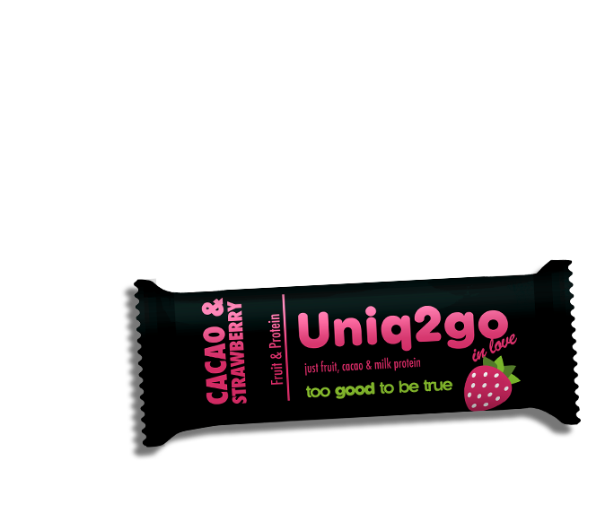 Uniq2go in love – Kakaolu ve Çilekli Proteinli Bar