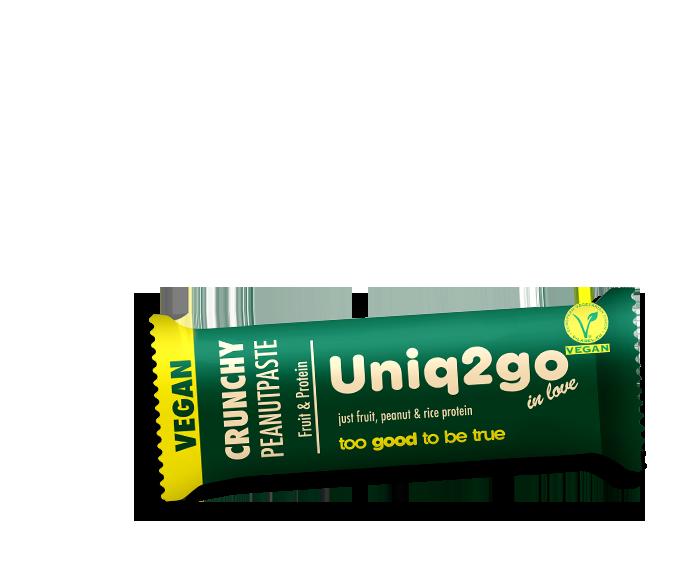 Uniq2go in love – Peanutpaste and Crunch with Rice Protein VEGAN Bar