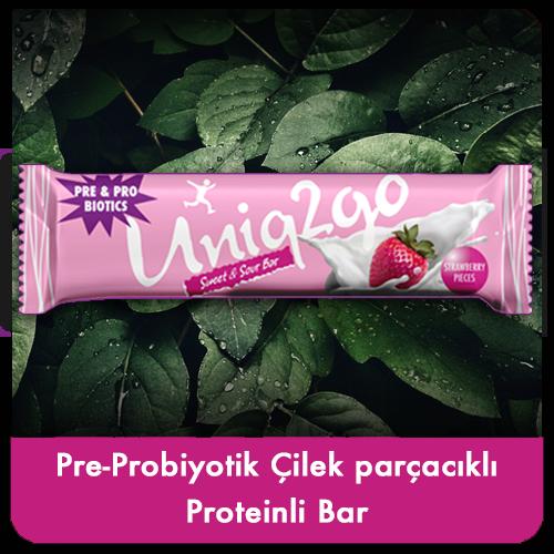 Uniq2go Pre-Probiyotik Çilek Parçacıklı Proteinli Bar