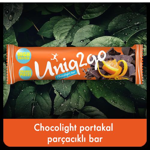 Uniq2go Chocolght portakal parçacıklı bar