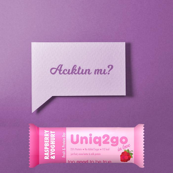 Uniq2go in love – Yoğurt Aromalı ve Ahududulu Protein Bar