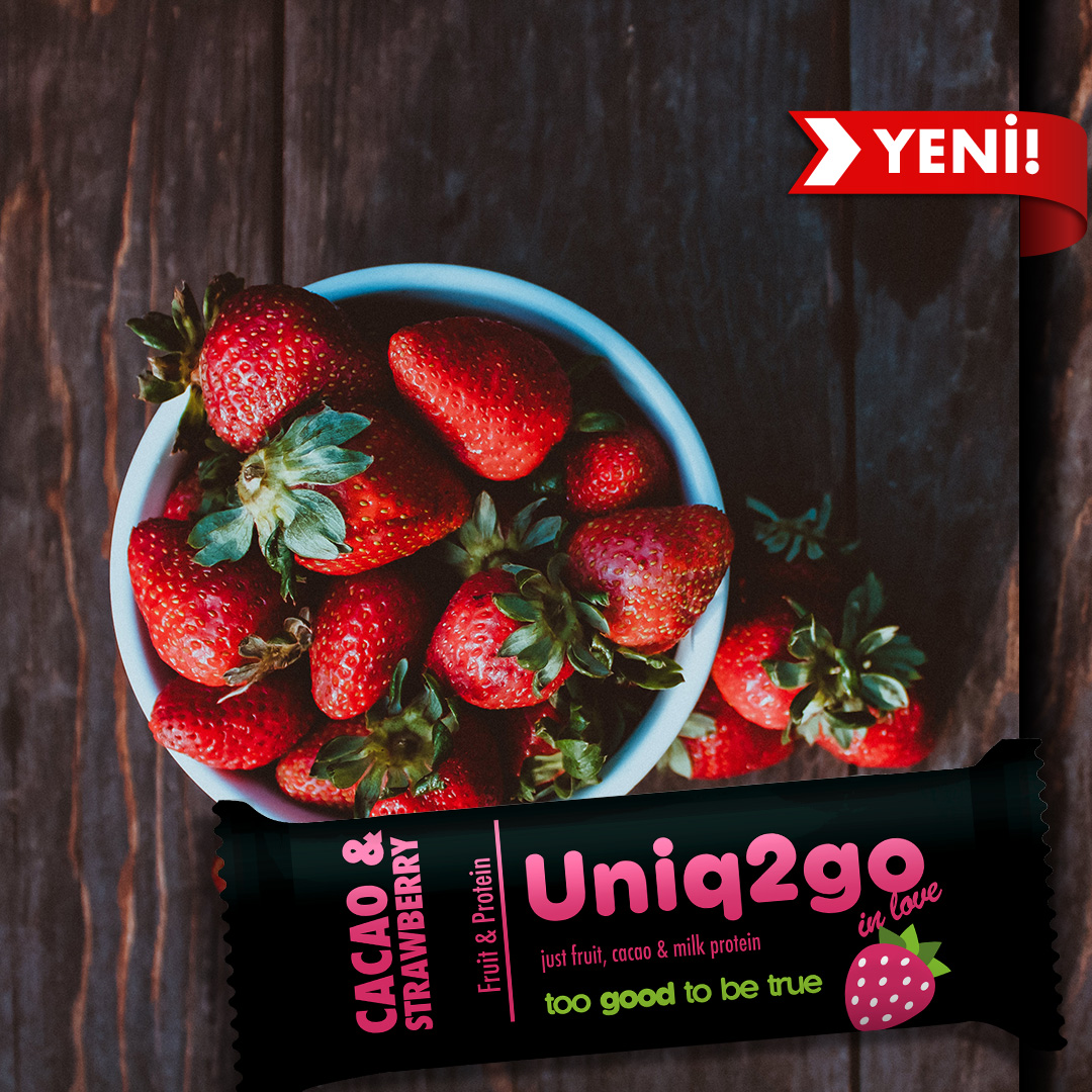 Uniq2go in love – Kakaolu ve Çilekli Proteinli Bar