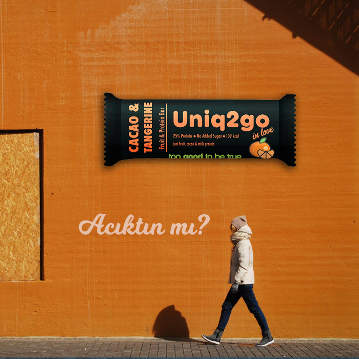 Uniq2go in love – Cacao & Tangerine Protein Bar