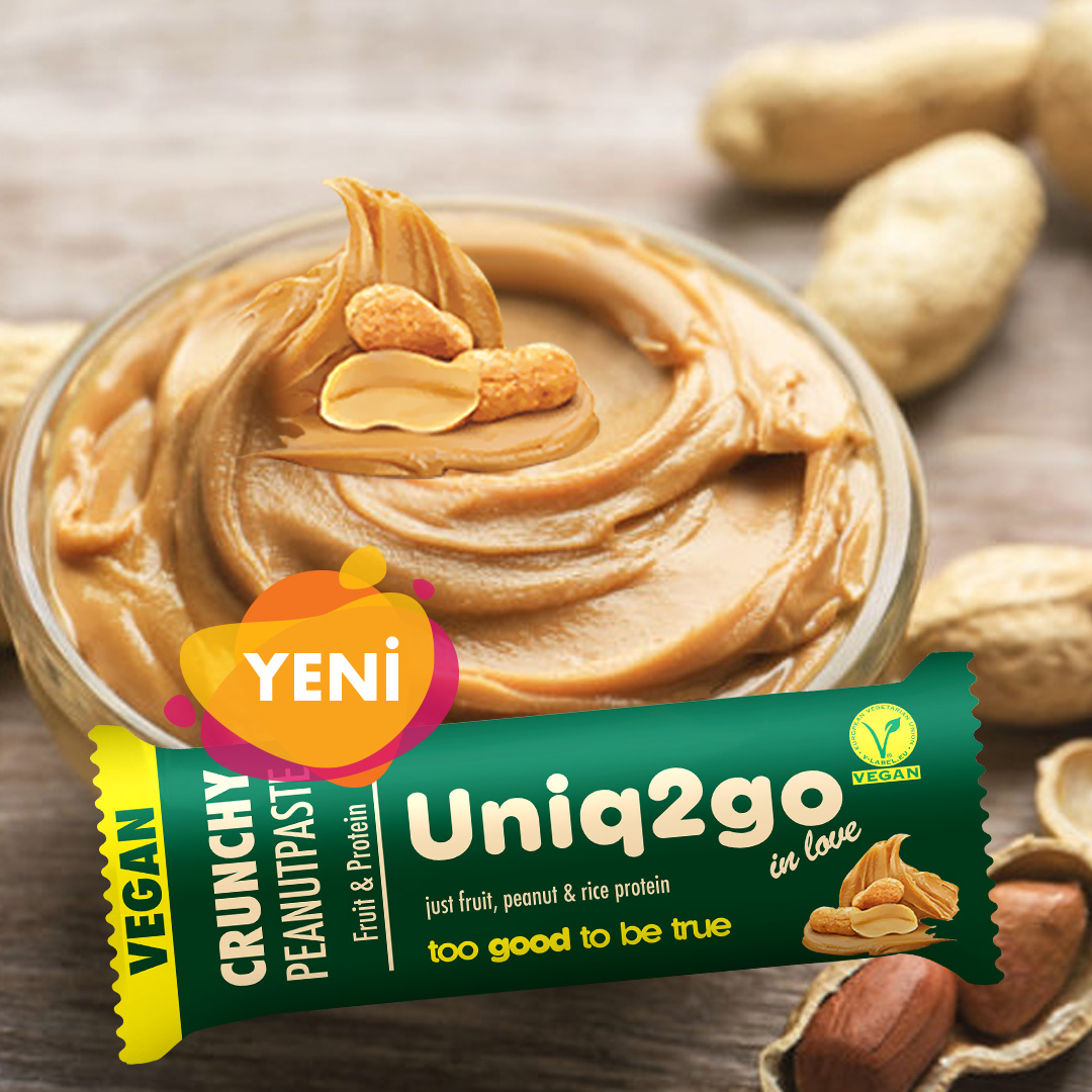 Uniq2go In love – Crunchy Peanutpaste with Rice Protein Vegan Bar